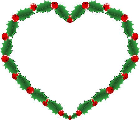 snow wreath: Beautiful Christmas decoration ornament with holly berry