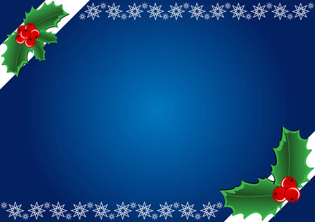 Christmas Background - Hollies and snowflake. illustration Stock Vector - 6636391