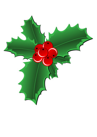 holly leaf: Christmas Holly Border isolated on white background Illustration
