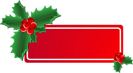 Christmas holly ornament with a space for text message Vector