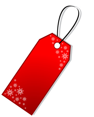 christmas tag: Red Christmas Gift Tag with snowflakes, isolated Illustration