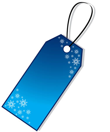 Blue Christmas Gift Tag with snowflakes, isolated Illustration