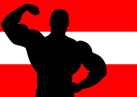 National flag of Austria with Athlete silhouette. Vector illustration. Vector