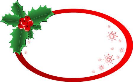 owalne: Christmas wektora holly ornament z na wpisanie tekstu wiadomoÅ›ci Ilustracja