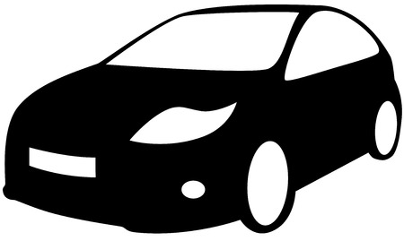 motorsport: A car - Black Silhouette, isolated. Vector illustration