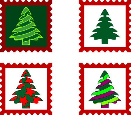 Postal stamp with Christmas trees. Vector illustration. Vector