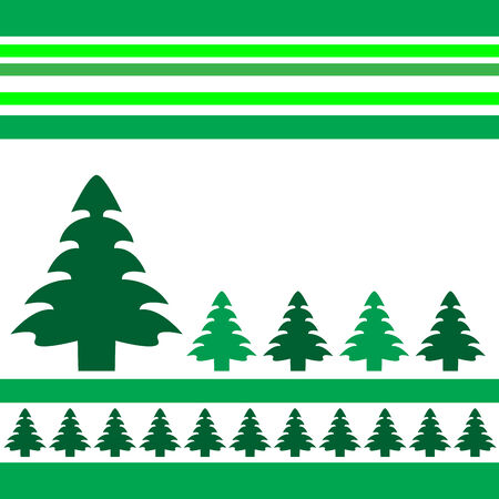 flores vintage: Christmas trees design with simplistic retro shapes on stripes in Vector format Illustration