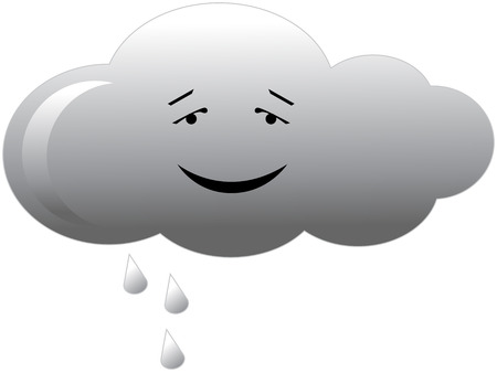 rainy season: Vector illustration of grey rain cloud isolated