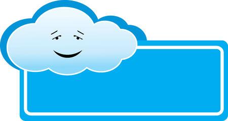 Vector illustration of blue cloud banner or logo Vector