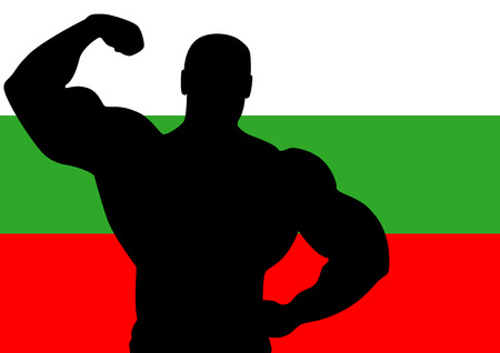National flag of Bulgaria with Athlete silhouette. Vector illustration. Vector