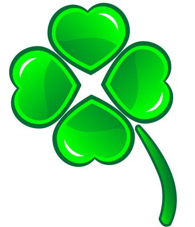 four leafs clover: Cuatro leafs tr�bol s�mbolo - icono de vector detallada