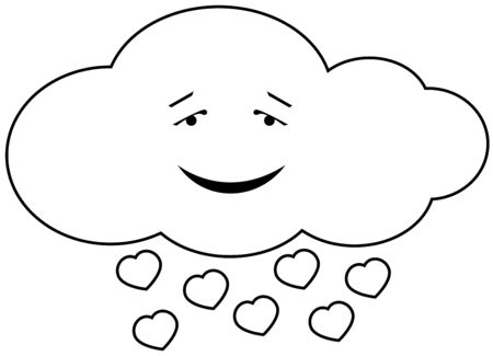 Vector illustration of cloud in love, isolated Vector