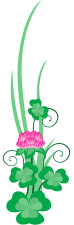 four fourleaf: Clover ornament for St. Patricks Day, isolated. Vector illustration. Illustration