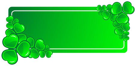 four fourleaf: Cornice decorativa con trifogli verde - illustrazione vettoriale.