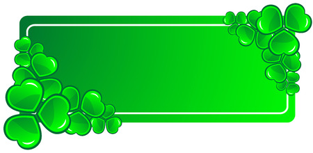 four fourleaf: Decorative frame with green clovers - vector illustration.