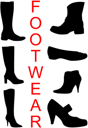 Collection of footwear silhouettes, isolated. Vector Illustration. Banco de Imagens - 6682417