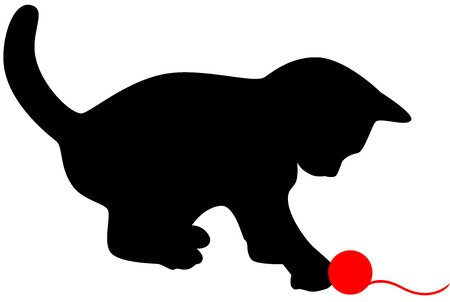 Little cat playing with red clew. Vector illustration. Vector
