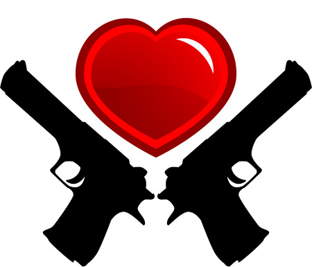 Red heart and guns, isolated. Vector illustration Banco de Imagens - 6682365