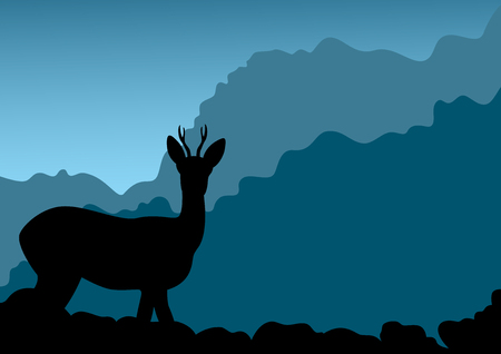 Deer on a background of mountains. Vector illustration Stock Vector - 6682419