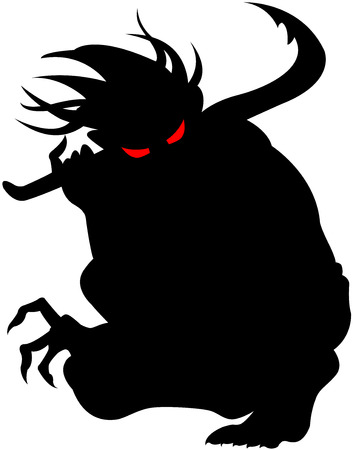 terrifying: Vector image of devil silhouette, isolated