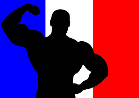 National flag of France with Athlete silhouette Vector