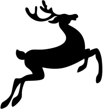 herbivorous animals: Black silhouette of a deer Illustration