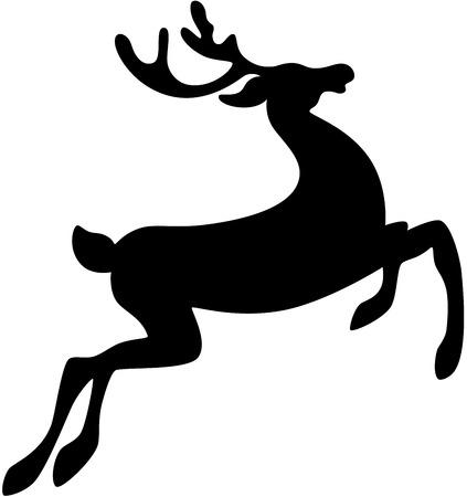 renna: Silhouette nere di un cervo Vettoriali