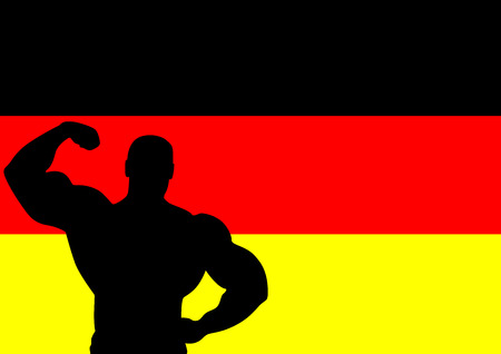 National flag of Germany with Athlete silhouette Vector