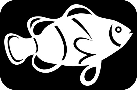 Logotipo de una imagen de pescado blanco sobre fondo negro, ilustración  Foto de archivo - 6844016