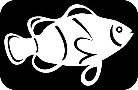 Logotipo de una imagen de pescado blanco sobre fondo negro, ilustraci�n  Foto de archivo - 6844016