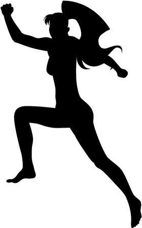 An image of jumping lady with long hair. Female silhouette, isolated Stock Vector - 6844014