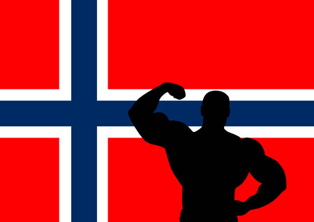 National flag of Norway with Athlete silhouette. illustration. Vector