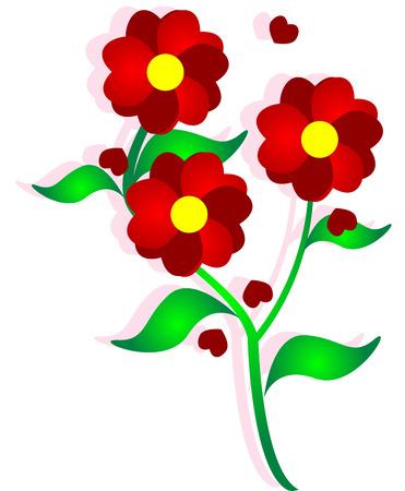 beautiful  image, illustration of heart flower.