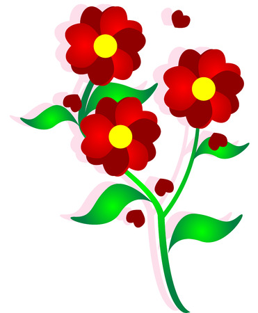 country flowers: beautiful  image, illustration of heart flower.
