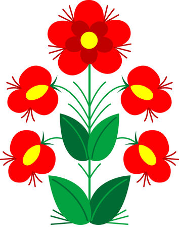 vectorial: Beautiful illustration of a red flowers, isolated Illustration