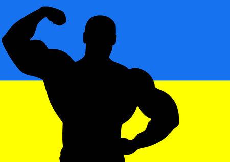 muscle training: Bandera nacional de Ucrania con la silueta de la atleta. Ilustraci�n vectorial.