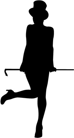 An image of dancing girl with walking stick in her hand, isolated. Vector illustration - female silhouette.