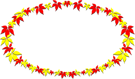 autumn leafs: Frame made of red and yellow leafs, isolated