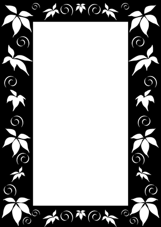 This is Black and white floral frame Stock Vector - 7105473