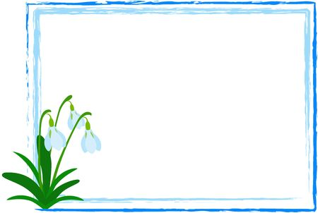 Illustration of Snowdrop flower in abstract frame on the white background illustration