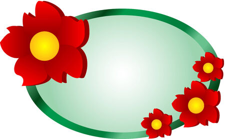Decorative banner or label illustration with red flowers Illustration