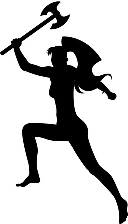 An image of jumping girl with axe in her hand. Female silhouette, isolated