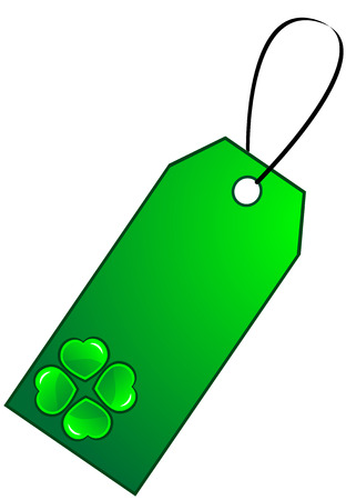 Green gift tag with clover, isolated.  illustration. Stock Vector - 7090854