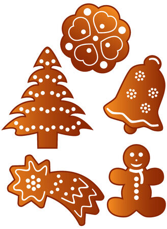 Homemade different gingerbread cookies, isolated. illustration. Banco de Imagens - 7090855