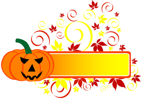 bewitchment: Halloween Banner with pumpkin and leaf, isolated.  illustration.