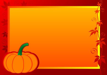 Autumn Frame with pumpkin and leaf. illustration.