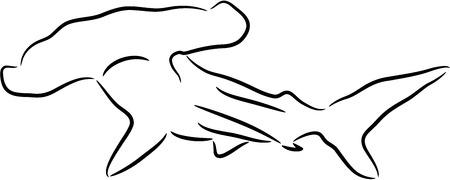 pez martillo: Silueta de tibur�n negro Hammerhead, aislado. llustration.