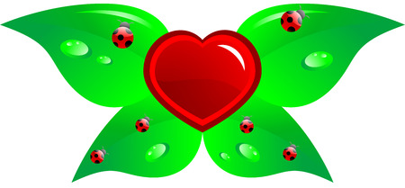 Cartoon heart with leaf and ladybirds, isolated.  Stock Vector - 7090846