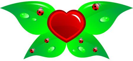 Cartoon heart with leaf and ladybirds, isolated.  Vector