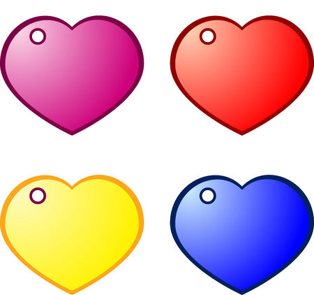 Beautiful different coloured Heart gift tags, isolated Stock Vector - 7090814